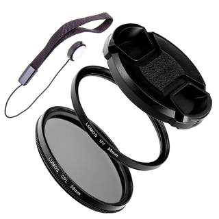 LUMOS Filter Set 58mm passt zu Canon - Polfilter UV Filter Objektivdeckel